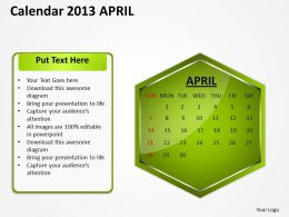 2013 April Calendar PowerPoint Slides PPT templates