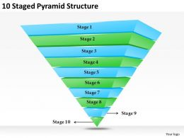 2013 Business Ppt Diagram 10 Satged Pyramid Structure Powerpoint Template
