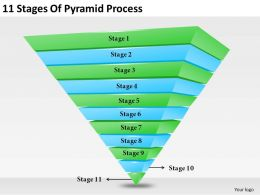 2013 Business Ppt Diagram 11 Stages Of Pyramid Process Powerpoint Template
