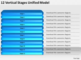 2013 Business Ppt Diagram 12 Vertical Stages Unified Model Powerpoint Template