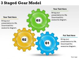 2013 Business Ppt Diagram 3 Staged Gear Model Powerpoint Template