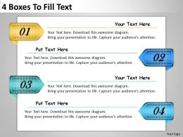 2013 Business Ppt Diagram 4 Boxes To Fill Text Powerpoint Template