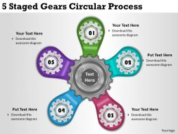 2013 Business Ppt Diagram 5 Staged Gears Circular Process Powerpoint Template
