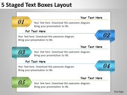 2013 Business Ppt Diagram 5 Staged Text Boxes Layout Powerpoint Template