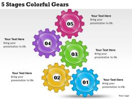 2013 Business Ppt Diagram 5 Stages Colorful Gears Powerpoint Template
