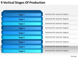2013 Business Ppt Diagram 9 Vertical Stages Of Production Powerpoint Template