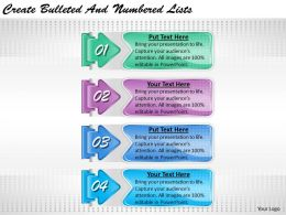 2013 Business Ppt Diagram Create Bulleted And Numbered Lists Powerpoint Template