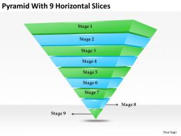 2013 Business Ppt Diagram Pyramid With 9 Horizontal Slices Powerpoint Template