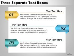 2013 Business Ppt Diagram Three Separate Text Boxes Powerpoint Template