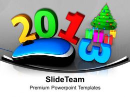 2013 Computer Mouse With Christmas Tree PowerPoint Templates PPT Backgrounds For Slides 0113