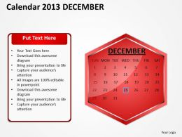 2013 December Calendar PowerPoint Slides PPT templates