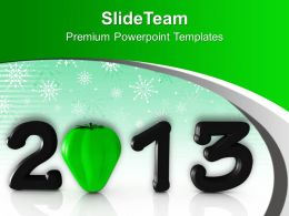 2013 In Black With Green Capsicum PowerPoint Templates PPT Backgrounds For Slides 0113
