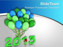 2013 In Light Green With Colorful Balloons PowerPoint Templates PPT Backgrounds For Slides 0113