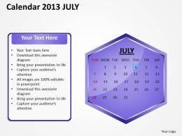 2013 July Calendar PowerPoint Slides PPT templates