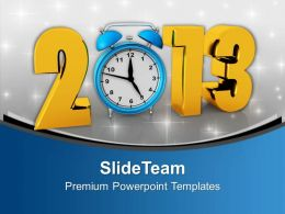2013 New Year With Alarm Clock Holidays PowerPoint Templates PPT Backgrounds For Slides 0113