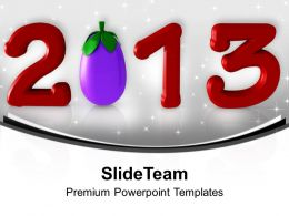 2013 With Brinjal Red Text New Year PowerPoint Templates PPT Backgrounds For Slides 0113