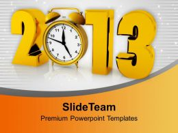 2013 With Clock Happy New Year PowerPoint Templates PPT Backgrounds For Slides 0113