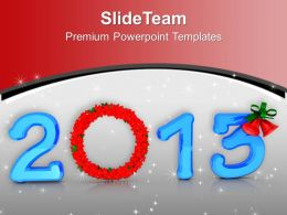 2013 With Wreath In Blue New Year PowerPoint Templates PPT Backgrounds For Slides 0113