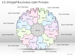 2014 Business Ppt Diagram 12 Staged Business Gear Process Powerpoint Template