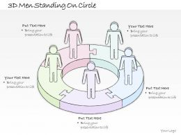 2014 Business Ppt Diagram 3D Men Standing On Circle Powerpoint Template