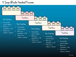 2014 Business Ppt Diagram 5 Lego Blocks Stacked Process Powerpoint Template