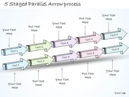 2014 Business Ppt Diagram 5 Staged Parallel Arrow Process Powerpoint Template