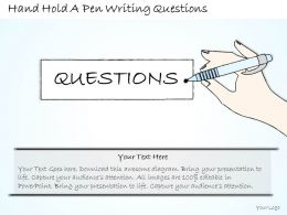 2014 Business Ppt Diagram Hand Hold A Pen Writing Questions Powerpoint Template
