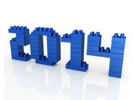 2014 Year Lego Design On White Background Stock Photo