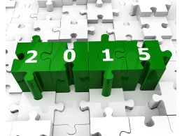 2015 On Pieces Of Puzzle Stock Photo
