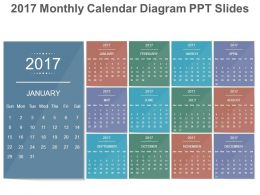 2017 monthly calendar diagram ppt slides