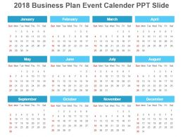 2018 Business Plan Event Calender Ppt Slide