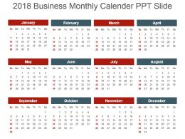 2018 Monthly Calender Ppt Slides