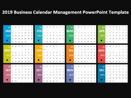 2019 Business Calendar Management Powerpoint Template
