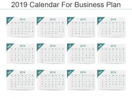 2019 Calendar For Business Plan Ppt Template