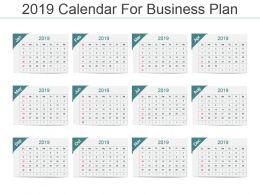 2019 Calendar For Business Plan Ppt Template