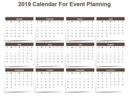 2019 Calendar For Event Planning Powerpoint Template