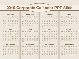 2019 Corporate Calendar Ppt Slide
