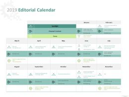 2019 Editorial Calendar Channel Content Ppt Powerpoint Presentation Model Example File