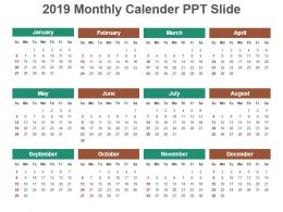 2019 Monthly Calender Ppt Slide