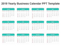 2019 Yearly Business Calendar Ppt Template