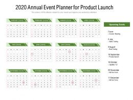 2020 Annual Event Planner For Product Launch