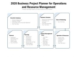 2020 Business Project Planner For Operations And Resource Management