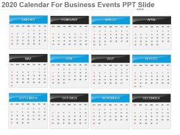 2020 Calendar For Business Events Ppt Slide