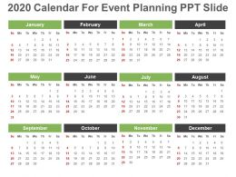 2020 Calendar For Event Planning Ppt Slide
