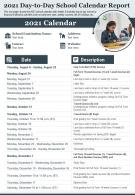 2020 Day To Day School Calendar Report Presentation Infographic PPT PDF Document