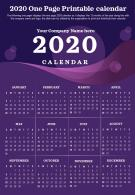2020 One Page Printable Calendar Presentation Report Infographic PPT PDF Document