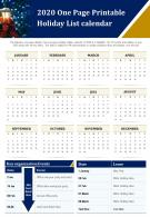 2020 One Page Printable Holiday List Calendar Presentation Report Infographic PPT PDF Document