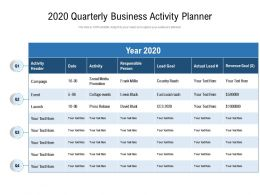 2020 Quarterly Business Activity Planner