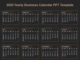 2020 Yearly Business Calendar Ppt Template