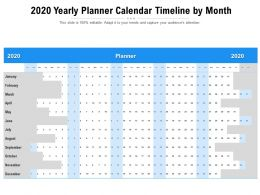 2020 Yearly Planner Calendar Timeline By Month